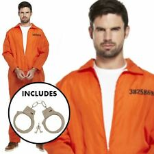 Para Hombre Preso Mono Convicto Stag Do Naranja general Fiesta Fancy Dress Costume