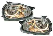 Clear chrome finish headlights with angel eyes for Opel Corsa B 93-00