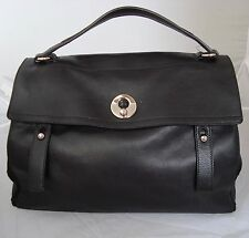 AUTH LARGE YSL MUSE TWO IN BLACK LEATHER BAG