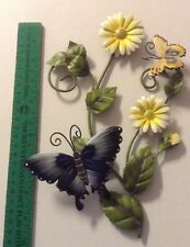 Colorful Metal Wall Hanging Butterflies And Daisies