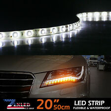 2x Flexible Strip 50cm 6000K White Car Motorcycle 30 LED Lights Waterproof 12V