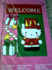HELLO KITTY as TOY SOLDIER WELCOME MINI GARDEN CHRISTMAS FLAG mint  pkg retired!