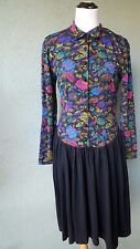 Vintage MISSONI Neiman Marcus 80's Geometric Print Long Sleeve Dress Size M / L