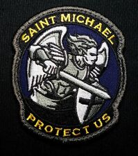 MODERN SAINT ST. MICHAEL PROTECT USA MORALE COLOR VELCRO® BRAND FASTENER PATCH