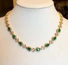 """JACQUELINE KENNEDY"" CAMROSE & KROSS SIMULATED EMERALD NECKLACE GORGEOUS!!!"