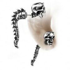 Faux Fake Ear Stretcher Wraith Spine Alchemy Gothic Skull Earring Pewter New