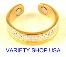 Alloy Ring Diamond Cut Gold & Silver Adjustable Band R038G
