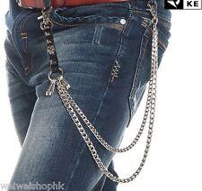 Men's Leather Punk Double Link Skull Wallet Chains Biker Trucker Rock Key Chain