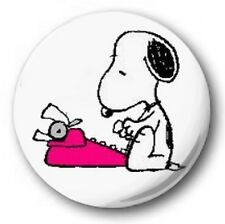 "SNOOPY TYPEWRITER - 25mm 1"" Button Badge - Novelty Cute Peanuts Charly Brown"