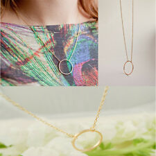 Elegant Womens Simple Clavicle Necklace Chain Round Charm Circle Pendant