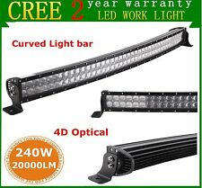 "43"" 240W CREE Curved LED Light Bar Combo 4D Optical Driving Off-road Jeep Truck"