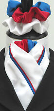 Ready Tied Red White and Blue GB UK Celebration Faux silk Riding Stock/Scrunchie