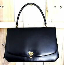 LRG LUXURY VINTAGE I.MAGNIN NAVY BLUE LEATHER LADYLIKE SATCHEL BAG HANDBAG PURSE