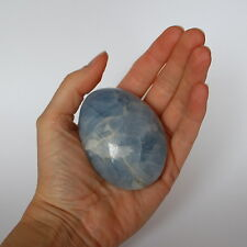 Blue Calcite Polished Crystal Palm Stone - 7.5x5.5x2.5cm - 189g