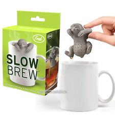 SLOW BREW TEA INFUSER - CUTE SLOTH HANGING LOOSE LEAF SILICONE MUG CUP STRAINER