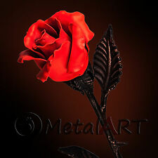 Red Metal Rose - Luminous Hand forged Steel Flower 4th Anniversary Gift Floral