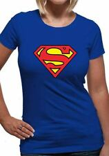 Superman Logo Symbol (Fitted) T-Shirt Womens Blue M