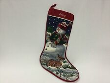 "Tapestry Christmas Stocking Needlepoint Snow Man Deer  19"" Completed Babsy"