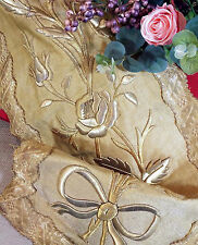 Antique French Gold Metallic Embroidery Panel Stump Work Roses Flowers