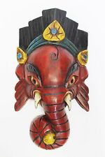 F768 Hand Crafted Wooden Mask of Hindu Lord Ganesh Wall Hanging Made In Nepal