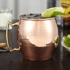 100% Pure Handmade Moscow Mule Hammered Copper Mug Glass Cup Brass Handle 16 OZ