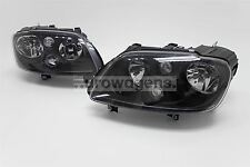 VW Caddy MK3 03-10 Black Headlights Headlamps Set Pair Driver Passenger