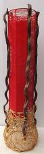 Lampada Piantana cilindrica in vegetale e stoffa color rosso rossa cm 100x24 n2