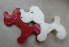Russian Soviet Vintage Red White Poodle Dog pin Plastic Две Собачки