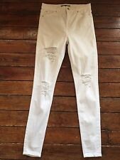 Topshop Moto Skinny Jeans Jamie Super Rip White  Size 12 W30  To Fit L34. Nb31