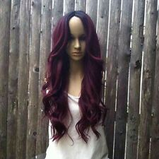 Ombré dark roots to maroon red wine red  lace front wig. Heat Resistant Syntheti