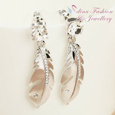 18K White Gold Plated Cubic Zirconia Stylish Sparkling Silver Feather Earrings
