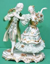 """Early Volkstedt Dresden Lace Figurine Dancing Couple 7.5"""" German"""