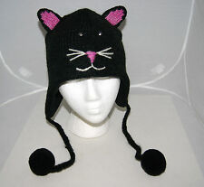 BLACK CAT HAT knit STITCH FACE halloween costume ADULT fleece lined unisex toque