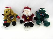 """3 Lot Window Cling suction Plush Christmas SANTA, Holiday DOG and FROG approx 7"""""""