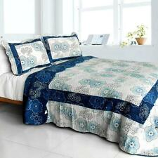 3 PC Shibumi navy blue flowers beige black country 100% Cotton Queen Quilt Shams