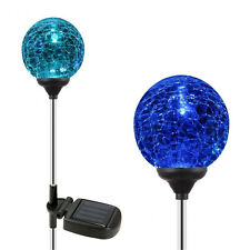 LED Glass Ball Garden Light Solar Powered Stainless Steel Color Changing Crack