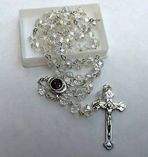 Clear Glass Crystal Bead Rosary w/Holy Soil Silver Crucifix Jerusalem Israel