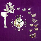 Modern Butterfly Fairy Clock DIY 3D Art Mirror Wall Sticker Kids Room Home Decor