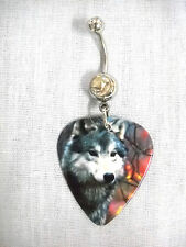 NEW WOLF IN THE WILD WILDLIFE PHOTO PRINTED GUITAR PICK ON CLEAR CZ BELLY RING