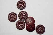 8pc 20mm HOL Dark Red Mock Leather Effect Coat Trouser Cardigan Kid Button 2704