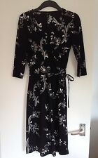 Ladies Stunning H&M Black & White Floral Dress With Tie Belt - Size 10, EUR 36