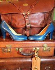 Chelsea J.Crew Pauline Women's Blue Teal Leather High Heels Pumps EU 38 US 7 7.5