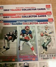 1993 NFL Gameday Collector Cards~McDonald's Limited Edition~Complete 3 Sheet Set