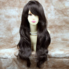 Stunning Long Wavy Dark Coffee Brown Ladies Wigs Skin top Hair BANGS WIWIGS UK
