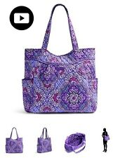 NWT Vera Bradley Lilac tapestry PLEATED TOTE Zippered Top Bag ShipsSameDay