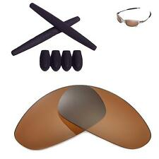 New WL Brown Polarized Lenses And Black w Ear Socks T-Shocks For Oakley Juliet