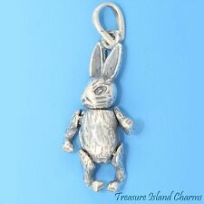 MOVABLE EASTER BUNNY RABBIT 3D .925 Solid Sterling Silver Charm or Pendant
