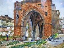 Ruine WW2 Kirche Kloster Gewölbe Ruinen  Aquarell Bild Gemälde Zeichnung