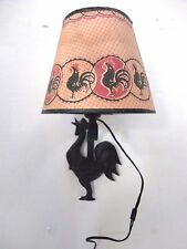 Vintage Black Cast Aluminum Rooster Wall Mount Lamp & Black & Red Rooster Shade