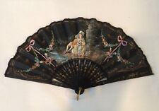 VTG 1950's Hand Painted Silk Hand Fan Pierced Original Box Signed Made In France